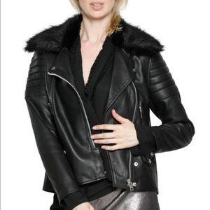 Walter Baker faux-fur-trim leather moto jacket